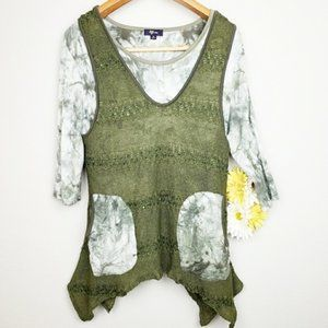 Lily olive green tie dye top and vest Medium